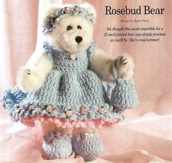 Y343 Crochet PATTERN ONLY Rosebud Bear Dress Purse Headband & Shoes Patterns