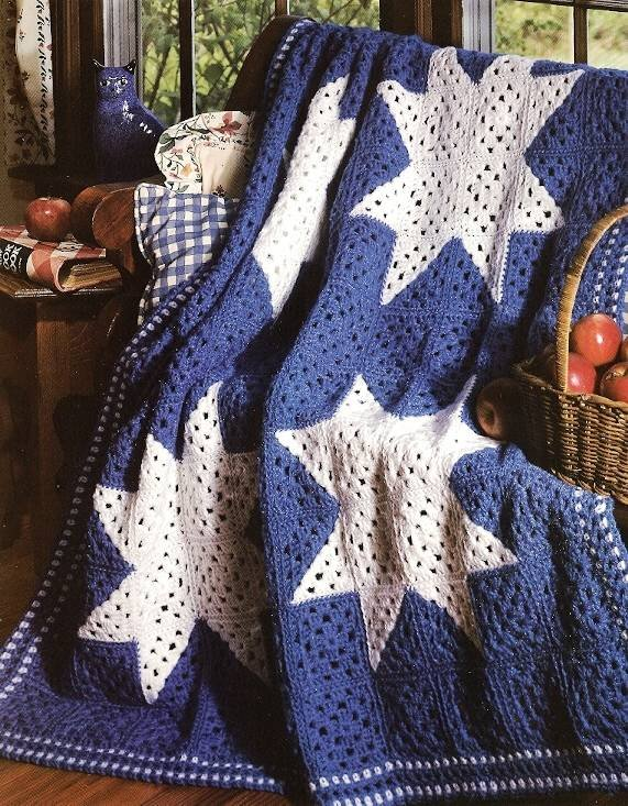 Y249 Crochet PATTERN ONLY Quilted Granny Star Afghan Throw Pattern