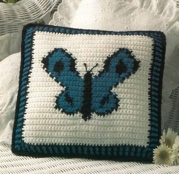 Y224 Crochet PATTERN ONLY Butterfly Pillow Pattern