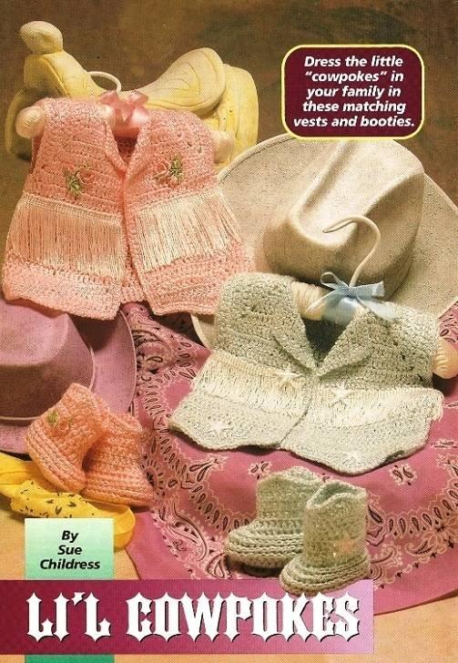 Y177 Crochet PATTERN ONLY Li'l Cowpokes Cowgirl & Cowboy Boots Vest