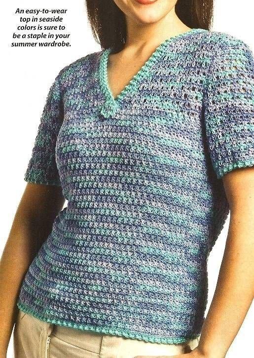 Y062 Crochet PATTERN ONLY Ocean Breeze Short Sleeve Top