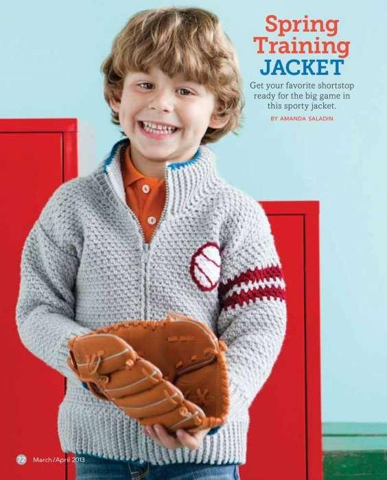 Y752 Crochet PATTERN ONLY Baseball Spring Training Zipper Jacket Sweater Pattern