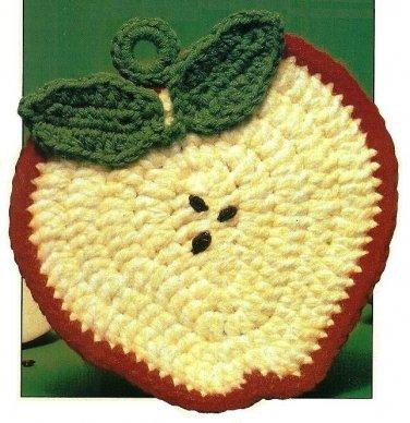 Y739 Crochet PATTERN ONLY Apple Slice Potholder Pattern
