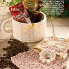 W055 Crochet PATTERN ONLY Coffee Cup Gift Basket & Dishcloth Pattern