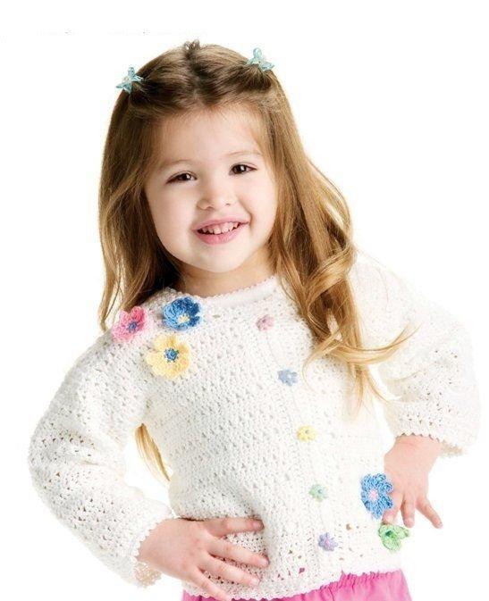 W262 Crochet PATTERN ONLY Little Girl Spring Flowers Cardigan Sweater Pattern