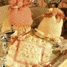 X938 Crochet PATTERN ONLY 3 Heirloom Sachet Pouch Ruffles Peaches Cream