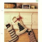 X559 Crochet PATTERN ONLY 3 Christmas Stockings Stripes Swirls Tree Patterns