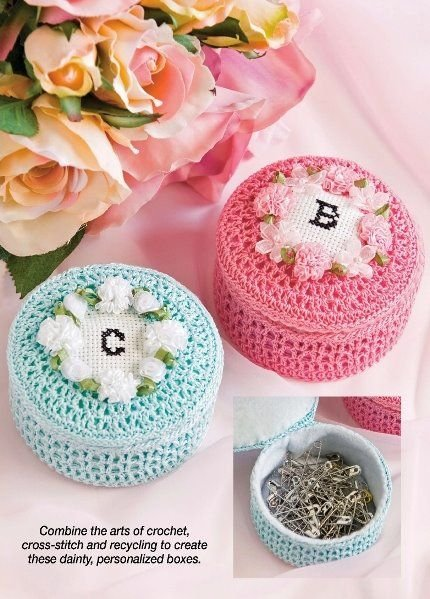 W373 Crochet PATTERN ONLY Trinket Box Pattern - Customize with any Initial