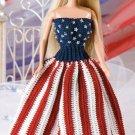W227 Crochet PATTERN ONLY Fashion Doll Star-Spangled Chic Dress Pattern
