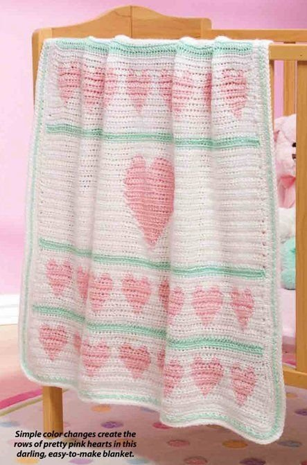 W252 Crochet PATTERN ONLY Hearts Aligned Baby Blanket Afghan Pattern