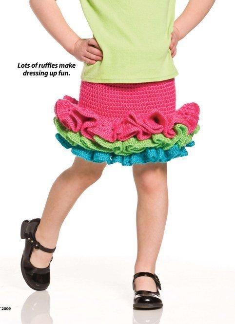W259 Crochet PATTERN ONLY Child Party-Girl Skirt Pattern Ruffled