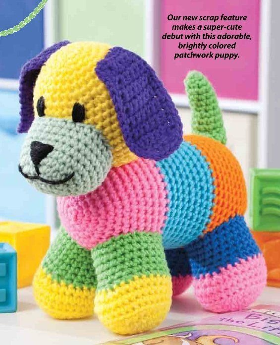 W291 Crochet PATTERN ONLY Patchwork Puppy Toy Doll Pattern