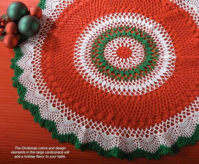 X340 Crochet PATTERN ONLY Christmas Centerpiece Doily Table Scarf Pattern