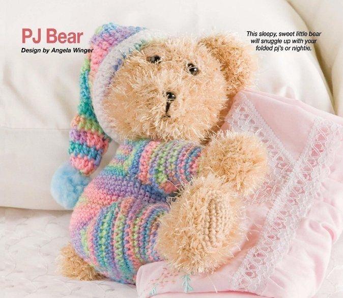 W313 Crochet PATTERN ONLY Sleepy Sweet Snuggle PJ Bear Toy Doll Pattern