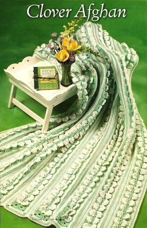 Y225 Crochet PATTERN ONLY Pretty Clover Panel Afghan Pattern