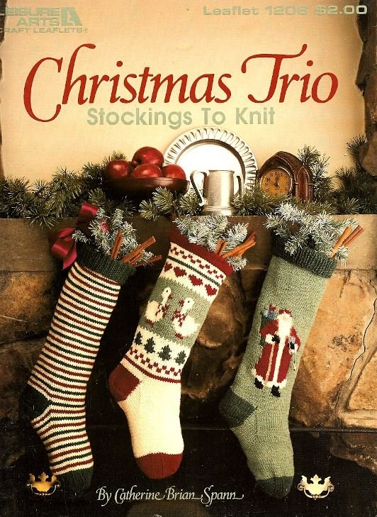 Y960 Knit PATTERN Book ONLY Christmas Trio of Stockings Stripe Goose Santa