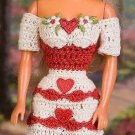 W346 Crochet PATTERN ONLY Fashion Doll Be My Valentine Dress and Hat Pattern