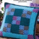 W299 Crochet PATTERN ONLY Nine-Patch Quilt Look Pillow Pattern