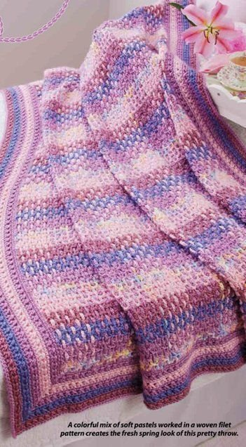 W294 Crochet PATTERN ONLY Tapestry Woven Throw Afghan Pattern