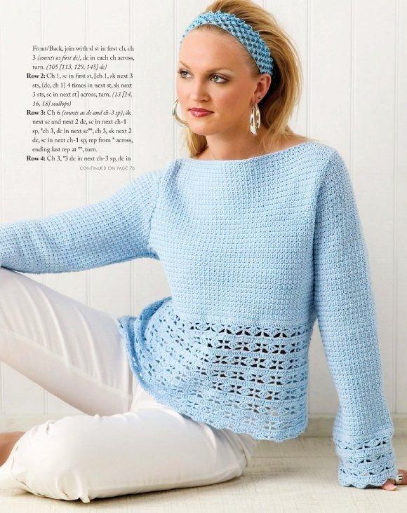 W266 Crochet PATTERN ONLY Ladies Blue Heaven Sweater Top Pattern