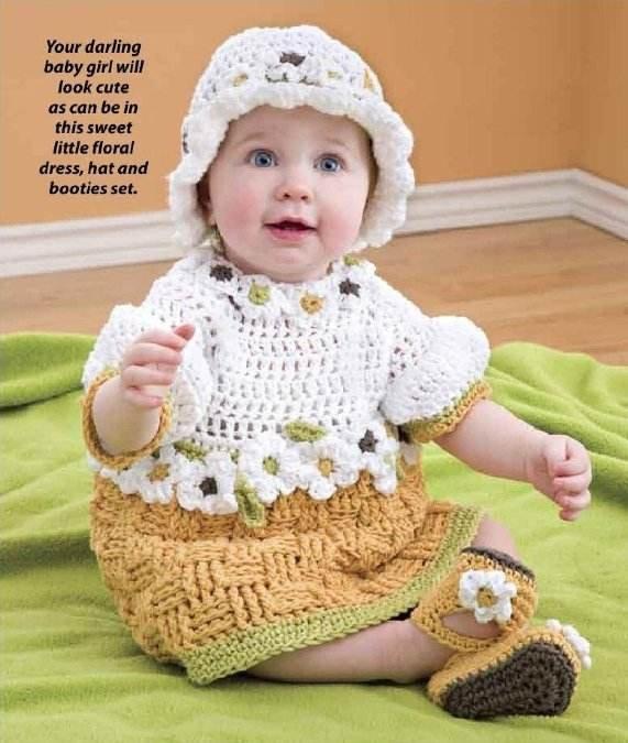 W247 Crochet PATTERN ONLY Basketweave Baby Dress Hat Booties Pattern