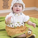 W247 Crochet PATTERN ONLY Basketweave Baby Dress Hat Booties Pattern