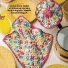 W246 Crochet PATTERN ONLY Flower Pot Holder & Dishcloth Pattern Potholder