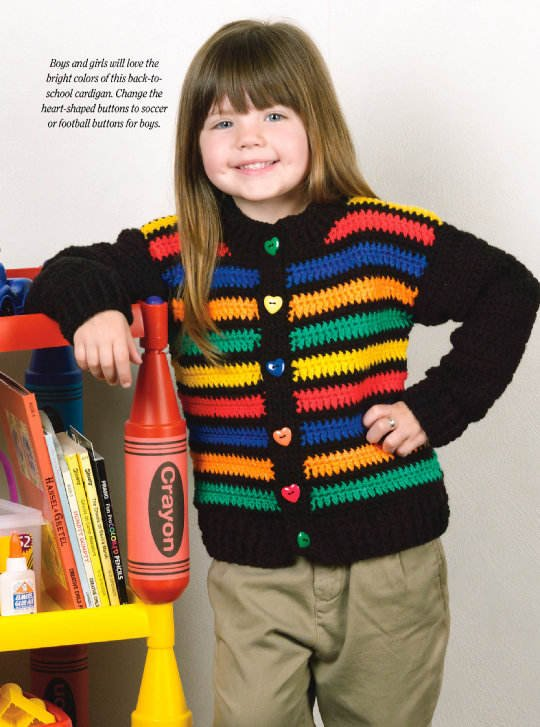 W219 Crochet PATTERN ONLY Crayon Stripes Cardigan Sweater Pattern