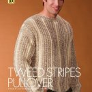 W430 Crochet PATTERN ONLY Men's Tweed Stripes Pullover Sweater Pattern