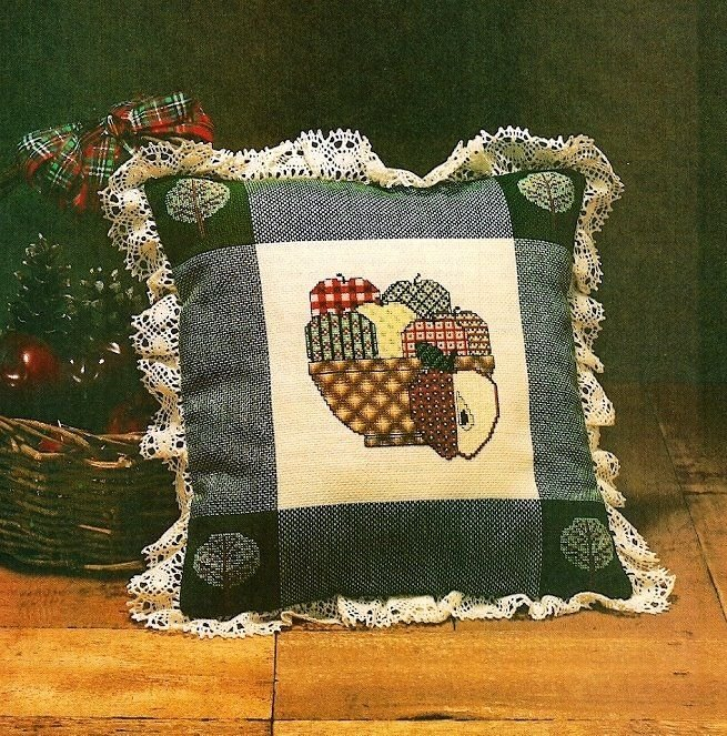 W426 Cross Stitch PATTERN ONLY Bowl of Apples Pillow Pattern Charts