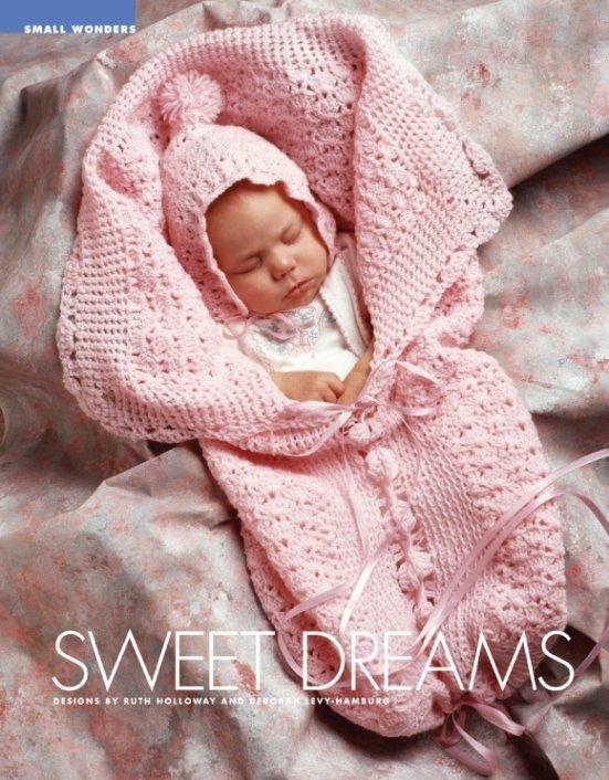 W401 Crochet PATTERN ONLY Sweet Dreams Baby Bunting and Bonnet Pattern Set