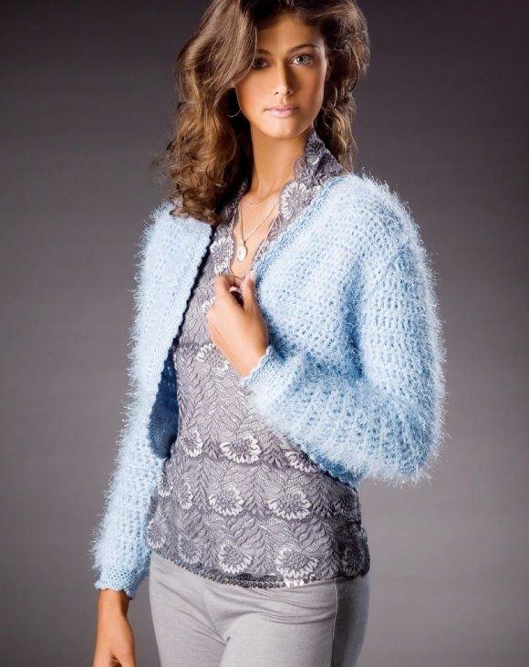 W425 Crochet PATTERN ONLY Blue Brilliance Bolero Jacket Pattern