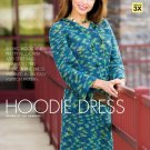 W421 Crochet PATTERN ONLY Chic Hooded Dress Pattern Easy - Sized to 3XL