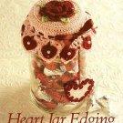 W420 Crochet PATTERN ONLY Heart & Rose Motif Jar Lid Cover Pattern