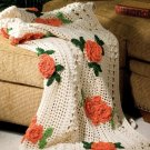 W388 Crochet PATTERN ONLY Field of Poppies Afghan Pattern Floral Flower