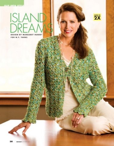 W410 Crochet PATTERN ONLY Island Dreams Cardigan Sweater Pattern Sized to 2X