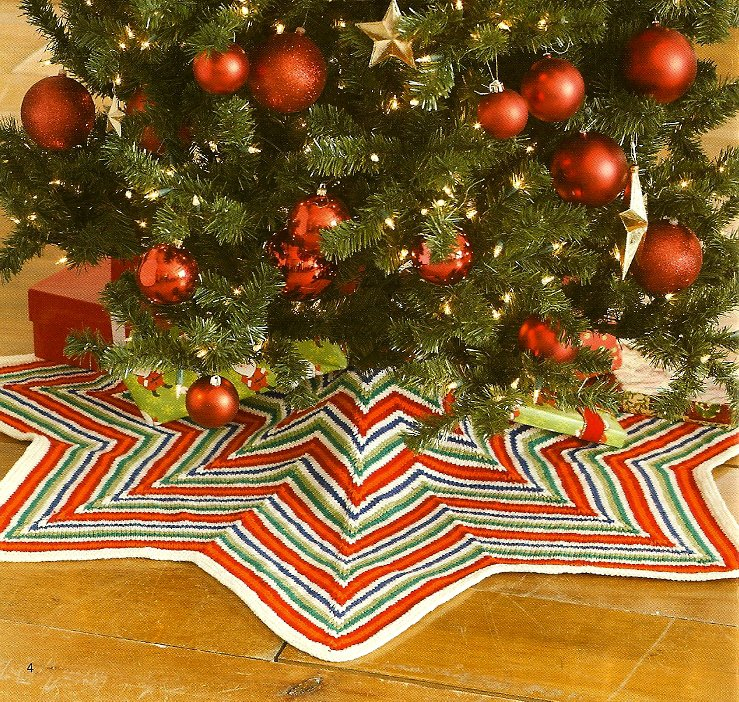 W014 Knit PATTERN ONLY Zig-Zag Striped Christmas Tree Skirt Pattern