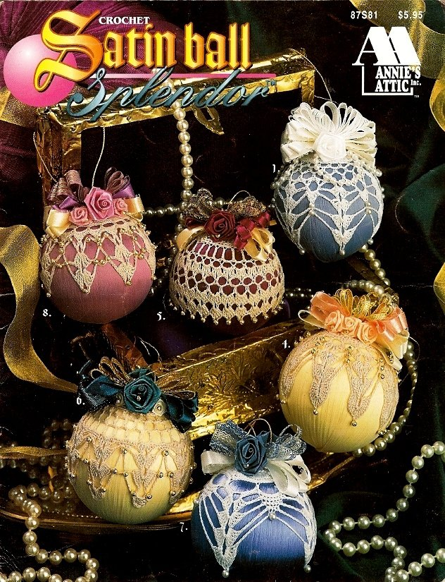 X085 Crochet PATTERN Book ONLY Satin Ball Splendor 12 Christmas Ornament Covers