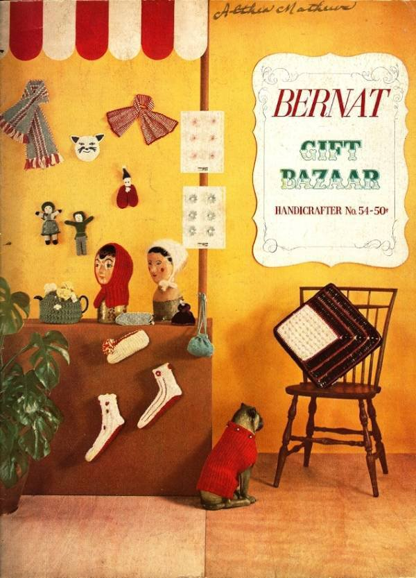 X094 Craft PATTERN Book ONLY Bernat Gift Bazaar Handicrafter #54 Vintage 1956