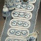 W013 Crochet PATTERN ONLY Blue Windmills Doily Pattern Yin Yang Like