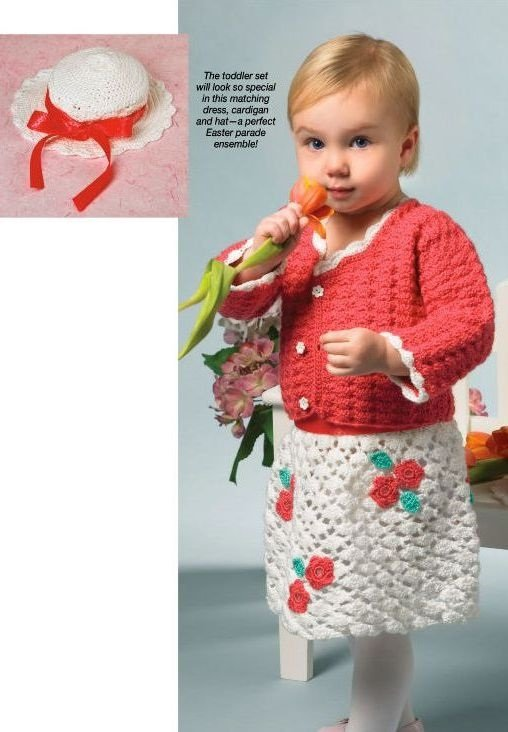 X699 Crochet PATTERN ONLY Toddler Easter Elegance Dress Cardigan Sweater & Hat