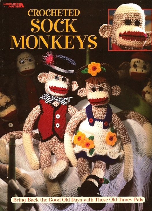 X354 Crochet PATTERN Book ONLY Sock Monkeys Blossom & Benny with Clothes