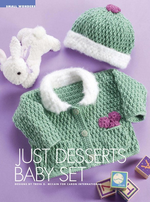 Y023 Crochet PATTERN ONLY Just Desserts Baby Cardigan Sweater & Hat Set Patterns