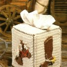 X436 Crochet PATTERN ONLY Western Horse & Boot Motif Tissue Cover Pattern