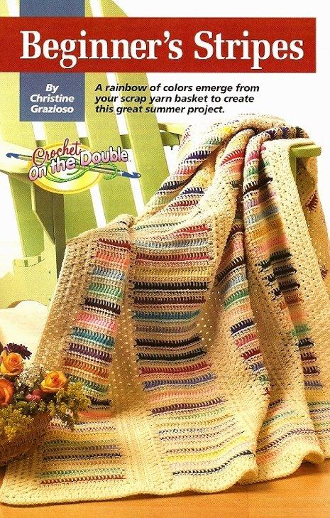W249 Crochet PATTERN ONLY Beginner's Rainforest of Colors Stripes Afghan Pattern