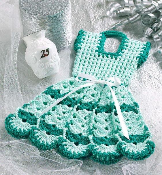 W057 Crochet PATTERN ONLY Doll Dress Pot Holder Potholder Pattern