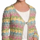 X687 Crochet PATTERN ONLY Floral Stripe Jacket Sizes up to 2XL