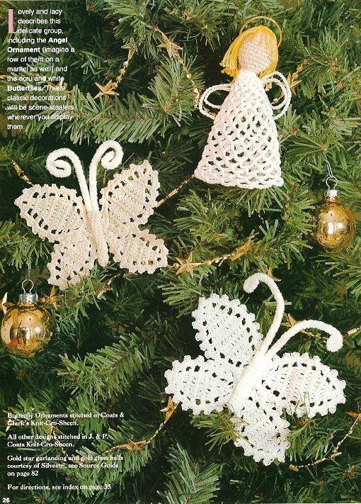 X923 Crochet PATTERN ONLY Ornaments Butterflies Angel Gingerbread Snowman