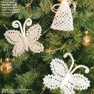 X923 Crochet PATTERN ONLY Ornaments Butterflies Angel Gingerbread Snowman