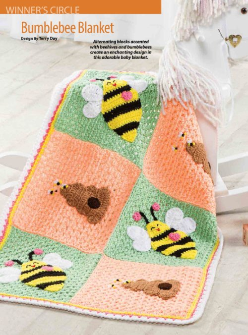 W330 Crochet PATTERN ONLY Bumblebee and Honey Hive Baby Blanket Afghan Pattern